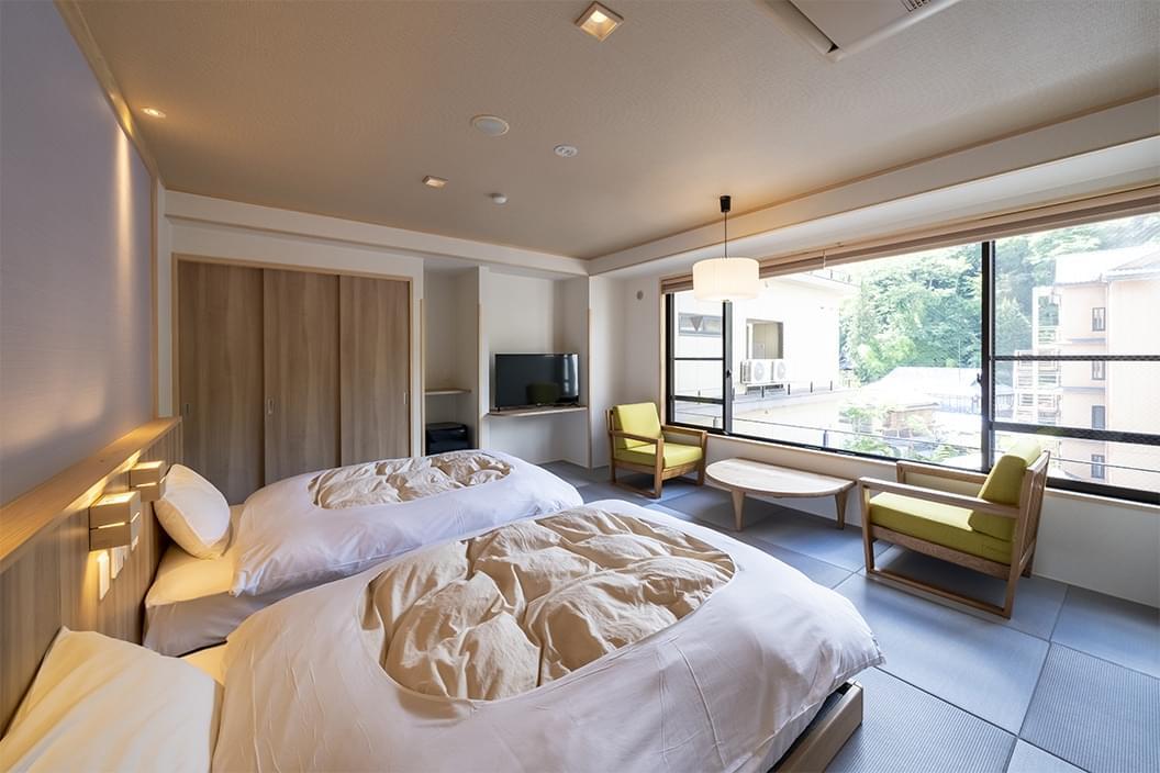 【503】かけ流し温泉付【和室ベッド】12畳|別所ビューの画像3
